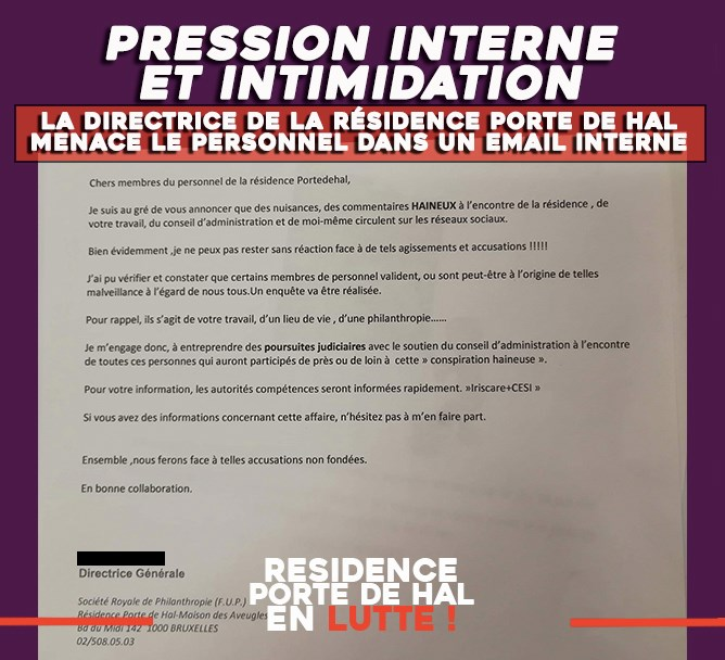 Résidence Porte de Hal en lutte : Pression interne et intimidations